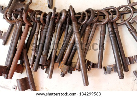 old set of keys - stock photo