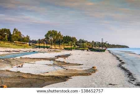 Old settlement of Latvian fishermen on the Baltic Sea, Europe - stock photo