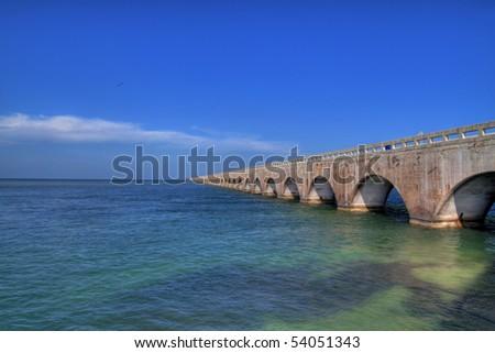 Old seven miles bridge to Key West - stock photo