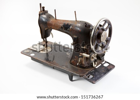 old sewing machine - stock photo