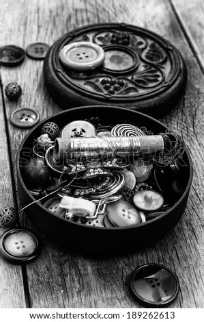 old sewing tools - stock photo