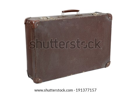 old shabby brown suitcase with angle bars  - stock photo