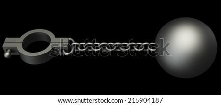 old shackles. isolated on black background. 3d illustration - stock photo