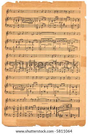 Old sheet music circa 1920. - stock photo
