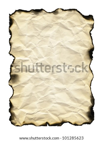 Old sheet of paper with burnt edges isolated on white background - stock photo