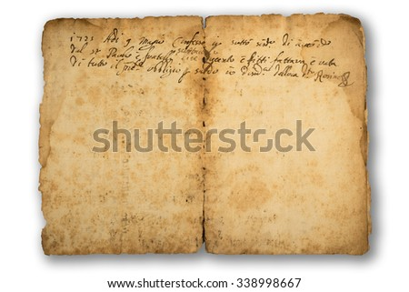old sheet with write isolated  on white - stock photo