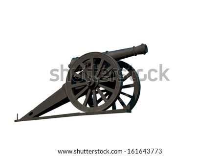 Old ship gun isolated on a white background.  - stock photo