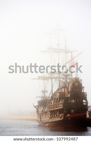 old ship in the fog 1 - stock photo