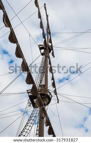 Old Ship mast. Old sail ship. - stock photo