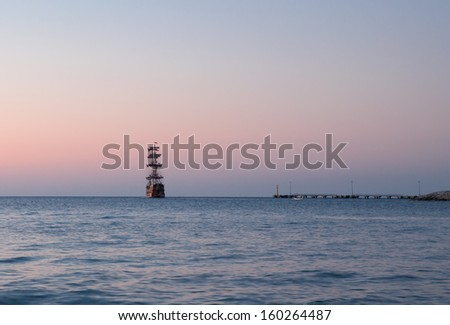 old ship sunset  - stock photo