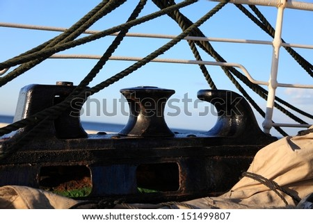Old Ship tackles on the frigate - stock photo