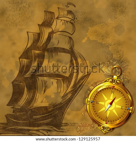 old ship vintage background with gold ancient compass - stock photo