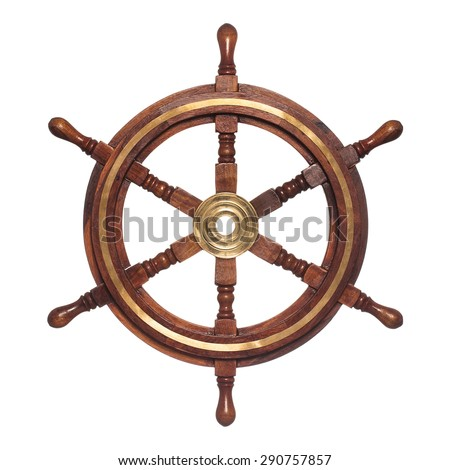 Old ship vintage, wooden steering wheel isolated on white background - stock photo