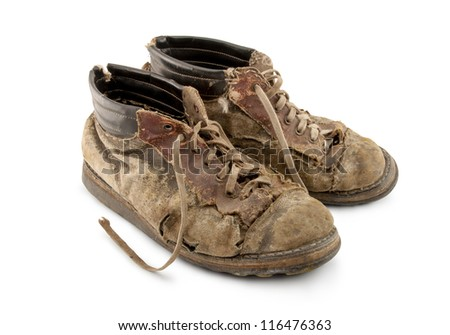 old shoes on a white background - stock photo