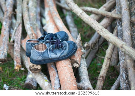 old shoes sport on wood - stock photo