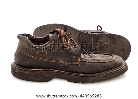 Old shoes - Still life pair of brown leather shoes old and dirty with isolated on white background, Side view - stock photo