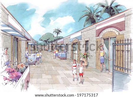 old shopping street - stock photo