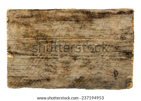 old sign board wooden  isolated on white background - stock photo