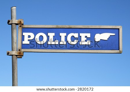 Old sign for a British police station. - stock photo