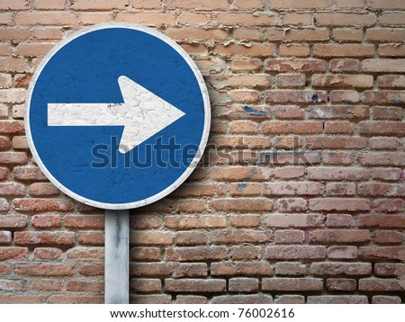 Old sign on old wall - stock photo