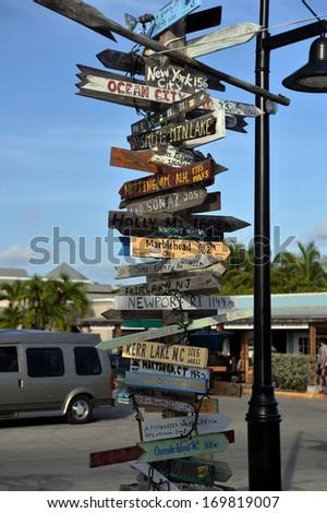 Old signpost inKey West, FL - stock photo