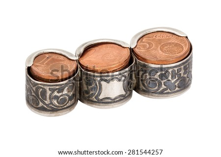 old silver coin holder with cents isolated on white background - stock photo