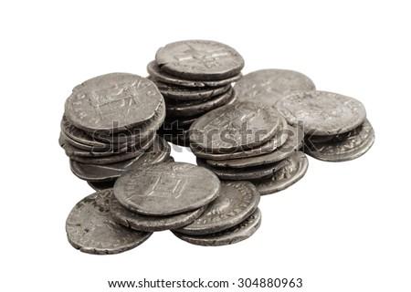 old silver denarius - stock photo