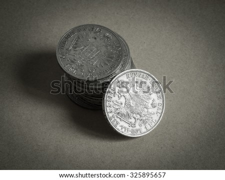 Old silver forint close up. - stock photo
