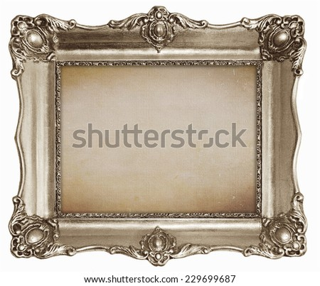 Old silver frame with empty canvas texture background for your picture, photo or text.  - stock photo