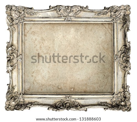 old silver frame with empty grunge canvas for your picture, photo, image. beautiful vintage background - stock photo