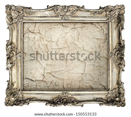 old silver frame with empty grunge canvas with cracks for your picture, photo, image. beautiful vintage background - stock photo
