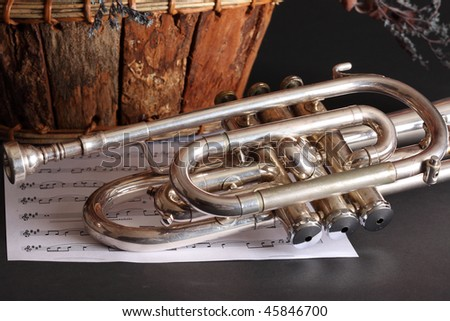 Old silver trumpet with classical sheet music and a basket of dried flowers on a black background. - stock photo