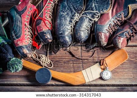 Old skates - stock photo