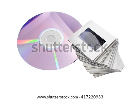 old slides and new dvd: two image archiving systems - stock photo