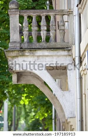 old small balcony, in city of Kaunas, Lithuania - stock photo