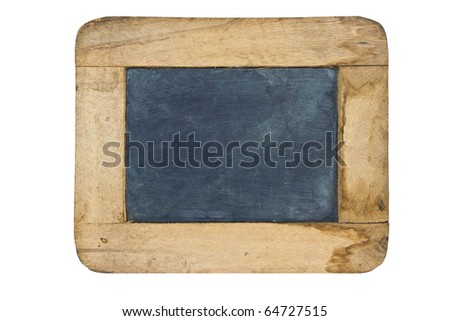 Old small blackboard isolate on white background - stock photo