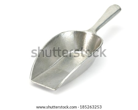 Old small scoop on a white background - stock photo
