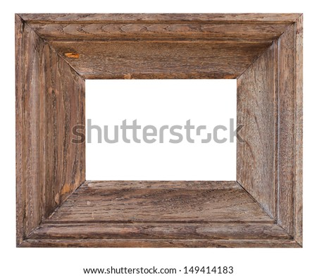 old small wide picture frame with cutout canvas isolated on white background - stock photo