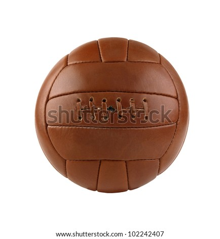 old soccer ball isolated on white background - stock photo