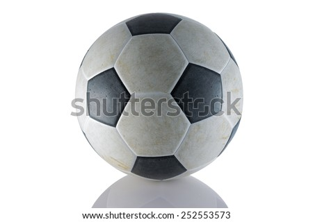 Old soccer ball with reflex on white background - stock photo