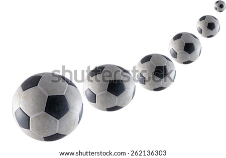Old soccer isolate on white background - stock photo