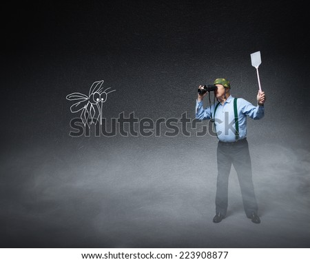 old soldier sighting for killing mosquito - stock photo