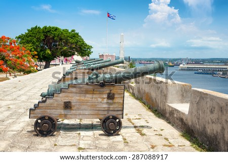 Old spanish cannons at La Cabana fortress in Havana - stock photo