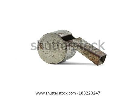 Old sports whistle isolated with clipping path - stock photo