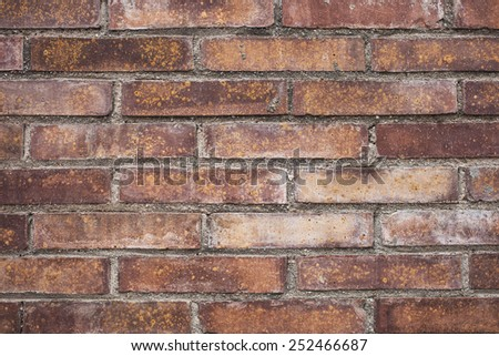 old stained brown brick wall background - stock photo