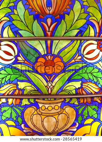 Old stained-glass window.