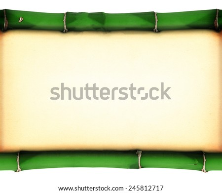 Old stained paper between two bamboo sticks, all isolated on whitebackground - stock photo