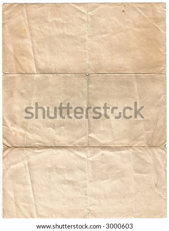 Old Stained Sheet of Blank Paper - stock photo