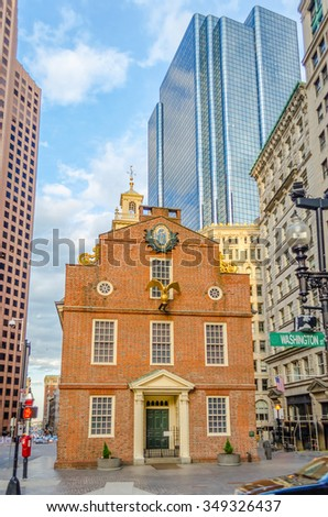 Old State House, Historic Building in central Boston, USA - stock photo