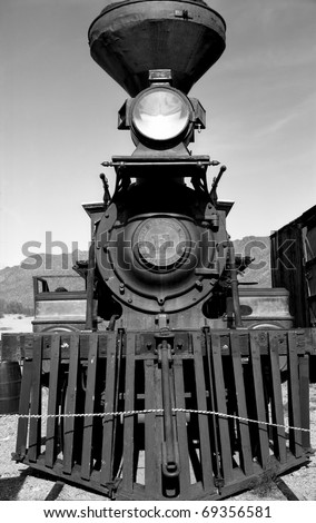 Old steam engine in Old Tucson Arizona January 2, 2011 - stock photo